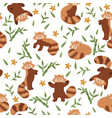 seamless pattern with red pandas and bamboo vector image vector image
