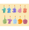 set birthday candles cartoon numbers vector image vector image