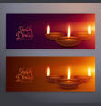set of two happy diwali horizontal banners with vector image vector image