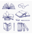 sketch books and stationery vintage library vector image