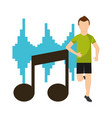 sport man running in front note musical equalizer vector image vector image