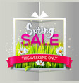 spring sale paper frame with red ribbon vector image vector image