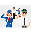 stewardess and pilot saluting vector image vector image