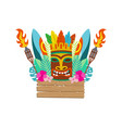 tiki mask surfboard and hawaiian holiday items vector image vector image