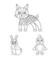 toy animals outline icons in set collection for vector image vector image