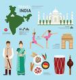 Travel Concept India Landmark Flat Icons Design