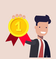 young businessman or manager with the gold medal vector image vector image