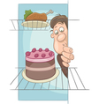 hungry man on diet cartoon vector image