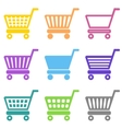 Colorful shopping cart icons vector image