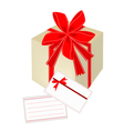 a gift box with red ribbon and blank gift card vector image vector image