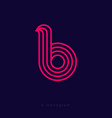 b letter monogram thin lines red web ui icon vector image vector image