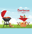 barbecue party outdoors colorful flat vector image