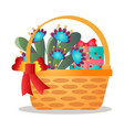 big wood gift basket with red ribbon and flower vector image vector image