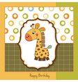 birthday card with giraffe toy vector image vector image