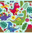 blue seamless pattern with cute dinosaurs vector image vector image