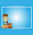 border template with boy and teddybear vector image vector image