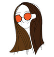 brunette wearing colorful sunglasses vector image vector image