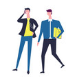 business partners with cellphone and briefcase vector image