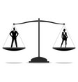 businessman and businesswoman standing on a scale vector image
