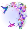 card with Iris flowers and hummingbird vector image vector image