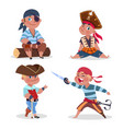 cartoon character boys pirates isolated on vector image