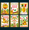 cinco de mayo mexican greeting cards vector image vector image