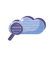 cloud data and magnifying glass with programming vector image vector image