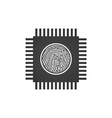 cpu central processing unit with fingerprint vector image vector image