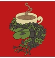 Cup of cocoa and a scarf vector image