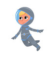 cute kid astronaut in outer space suit floating