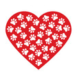 dog paw print made of red heart vector image vector image
