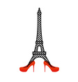 Eiffel Tower in red womens shoes Fashion symbol of vector image vector image