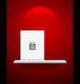 Empty white shelf on red wallpaper vector image vector image