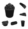 fast food black icons in set collection for design vector image vector image
