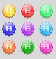 film icon sign symbol on nine wavy colourful vector image