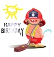 fireman firefighter in uniform with water hose vector image
