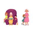 flat grandparents and children set vector image vector image