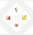 flat icon graph set of pie bar monitoring graph vector image vector image
