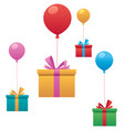 flying gifts on white vector image vector image