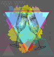 hand drawing champagne clinking glasses vector image vector image
