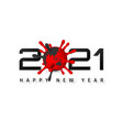 happy new year 2021 cover with coronavirus unit vector image