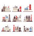 industrial manufactory building icons set flat vector image vector image