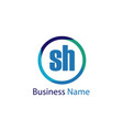 initial letter sh logo template design vector image vector image