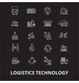 logistics technology editable line icons vector image vector image