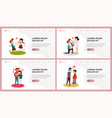 love website landing page flat set vector image vector image