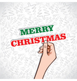 merry christmas sticker in hand vector image vector image