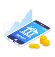 mobile banking isometric concept currency rate vector image vector image