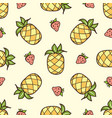 pattern with strawberry and pineapple vector image vector image