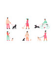 people with dogs flat set vector image vector image