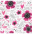 pink flowers hand drawn seamless pattern vector image vector image